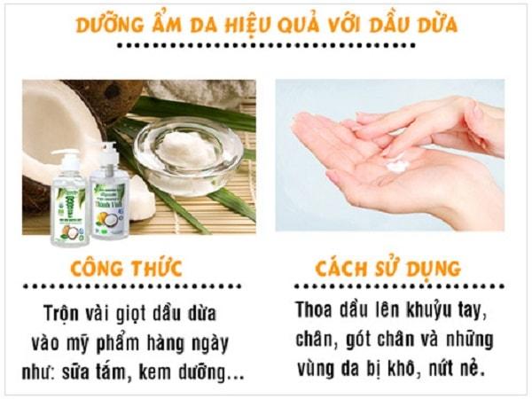 Dầu dừa giúp dưỡng ẩm da)