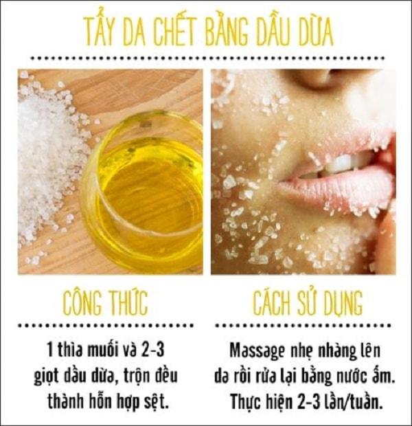 Dùng dầu dừa để tẩy da chết