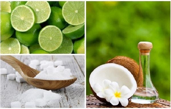 Hỗn hợp dầu dừa, muối, nước cốt chanh trị mụn hiệu quả