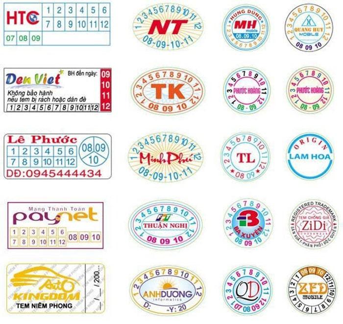 Các hình dáng khác nhau của tem bảo hành