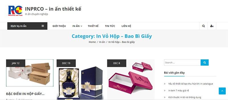 Website công ty TNHH in và TM PRCO
