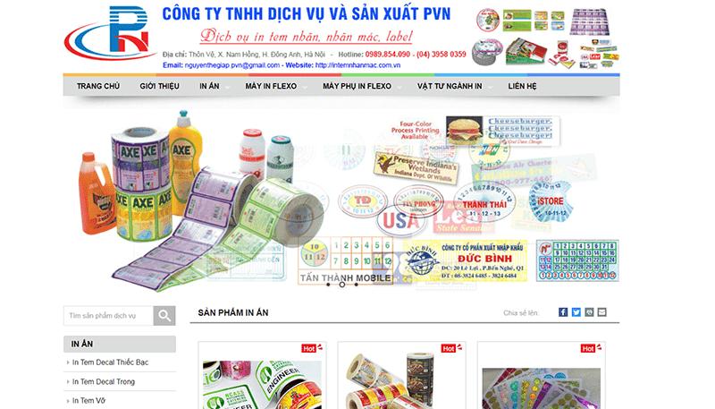 Website công ty TNHH Thương Mại và Dịch Vụ PVN